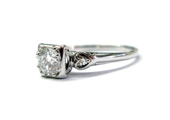 Other 18Kt Vintage Round Diamond Engagement Jewelry Ring WG .59CT F-VVS1 Image 3