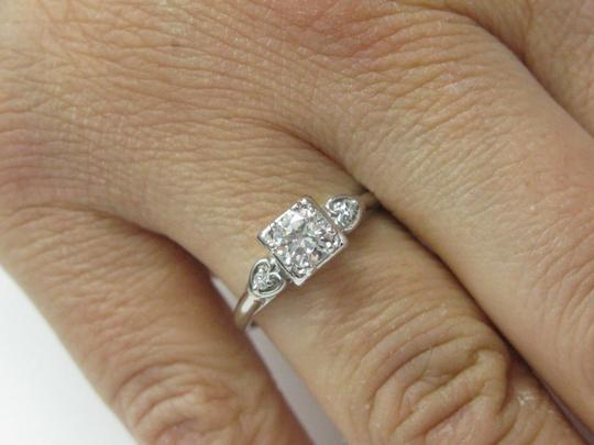 Other 18Kt Vintage Round Diamond Engagement Jewelry Ring WG .59CT F-VVS1 Image 4