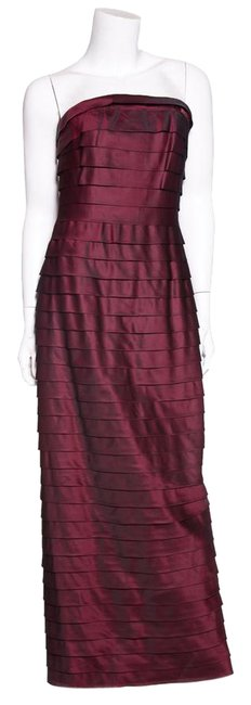 Item - Maroon Layered & Pleated Silk Gown Long Formal Dress Size 8 (M)