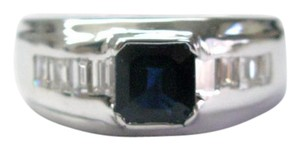 Other Fine Gem Sapphire Diamond Baguette Anniversary White Gold Ring 3.18CT
