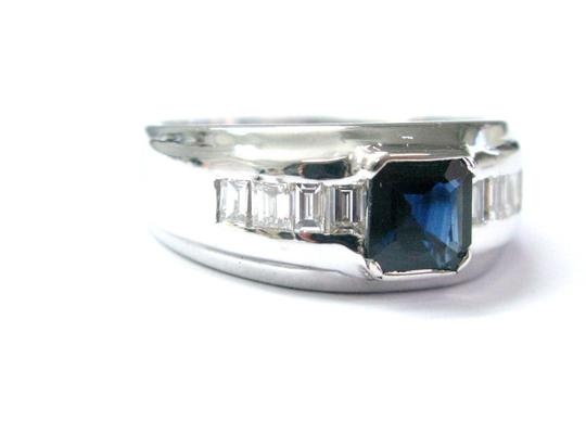Other Fine Gem Sapphire Diamond Baguette Anniversary White Gold Ring 3.18CT Image 1