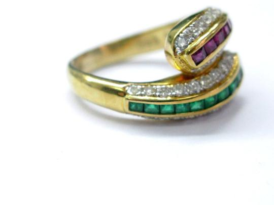 Other 18Kt Gem Sapphire Emerald & Diamond Cocktail ByPass Jewelry Ring 1.77C Image 1