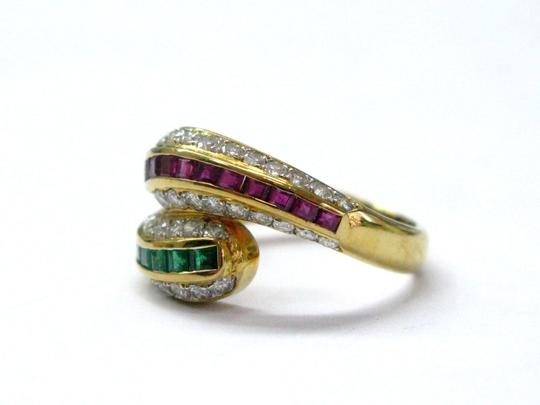 Other 18Kt Gem Sapphire Emerald & Diamond Cocktail ByPass Jewelry Ring 1.77C Image 5