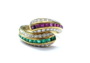 Other 18Kt Gem Sapphire Emerald & Diamond Cocktail ByPass Jewelry Ring 1.77C