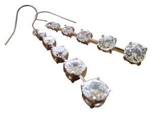 Ice Dangle Crystal Earrings, Cubic Zirconia 10 Stone Ice Brilliance Silver