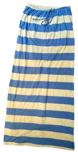 C&C California Oatmeal Stripe Lined Maxi Skirt Blue