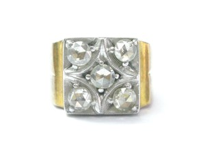 Other Fine Vintage Rose Cut Diamond Yellow Gold 5-Stone Ring 1.00Ct