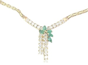 Other Fine Gem Green Emerald Diamond Yellow Gold Pendant Necklace 1.65Ct