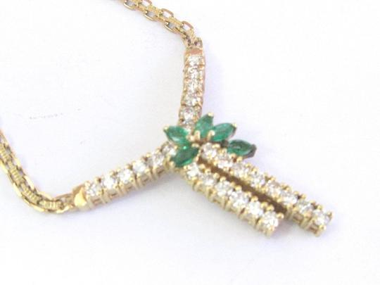 Other Fine Gem Green Emerald Diamond Yellow Gold Pendant Necklace 1.65Ct Image 1
