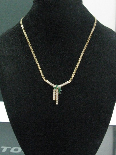Other Fine Gem Green Emerald Diamond Yellow Gold Pendant Necklace 1.65Ct Image 4