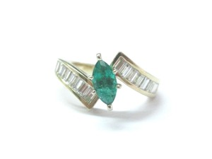 Other Fine Gem Green Emerald Diamond ByPass Yellow Gold Jewelry Ring 2.02Ct