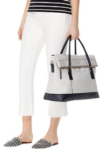 Kate Spade Travel Weekender Gold Hardware Leather Colorblock Stone Ice Off Shore Travel Bag
