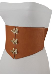 Other WOMEN MOCHA BROWN FAUX LEATHER FASHION WIDE CORSET BELT GOLD KHOOKs