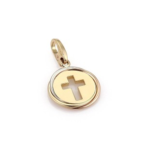 Cartier Trinity 18k Tri-Color Gold Stencil Cut Out Cross Round Pendant w/Cert