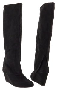 Jessica Simpson Leather Suede Over Heel Style Rallie Black Boots