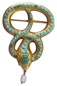 Other Vintage 18Kt Persian Turquoise Diamond Brooch / Pin Yellow Gold 2