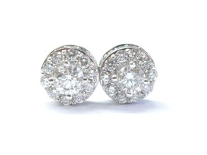 Other Fine Round Cut Diamond Stud Earrings White Gold 1.91Ct