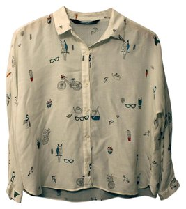 Trafaluc Print Summer Spring Cacti Bicycle Button Down Shirt Ivory