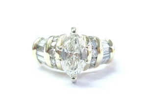 Other 18Kt Marquise Baguette & Round Diamond Yellow Gold Engagement Ring 1.2