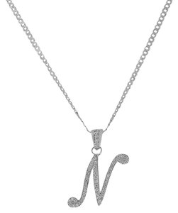 Other Letter N Cursive Initial CZ Pendant .925 Sterling Silver