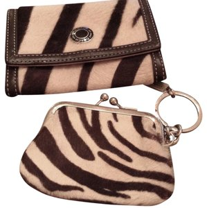 Coach Wallet Coin Purse Zebra Fur Wristlet in Black and White