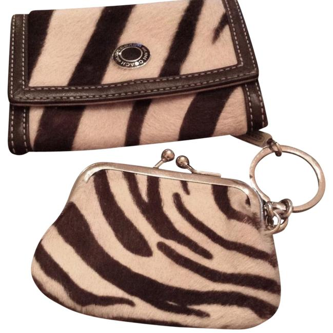 Item - Zebra Card Case Coin Purse Black and White Leather Wristlet