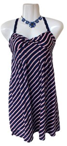 American Eagle Outfitters short dress blue,white,orange Smock Striped Summer Strapless Adjustable on Tradesy