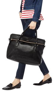 Kate Spade Travel Weekender Gold Hardware Leather Jet Black Travel Bag