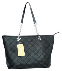 Michael Kors Saffiano Cross Stitch Silver Hardware Tote in Black
