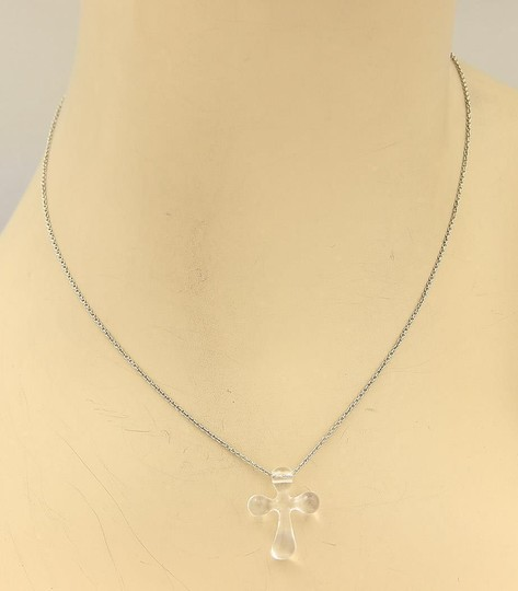 Tiffany & Co. Platinum Chain & Clear Quartz Cross Pendant Necklace Image 1