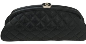 Chanel Leather Evening Silver Hardware Black Clutch