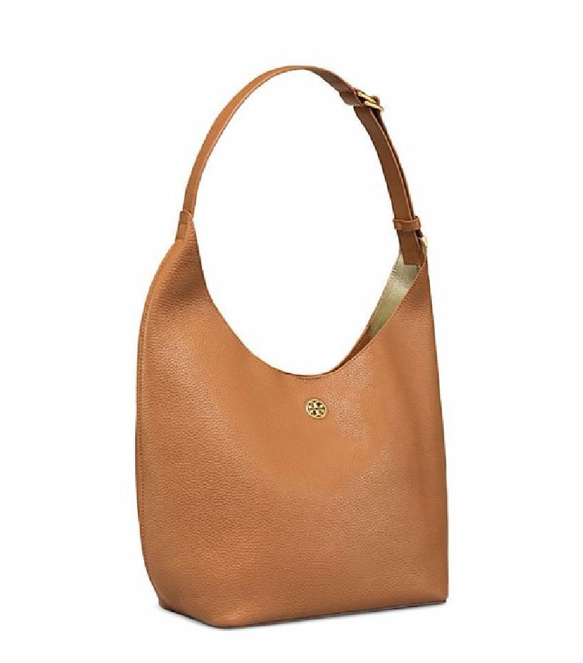 7e9b30600c3 Tory Burch Perry Bark/Light Gold Leather Hobo Bag - Tradesy