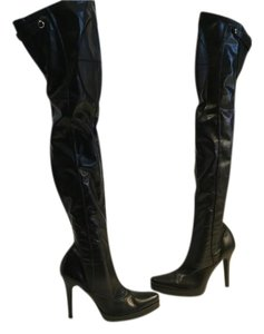 Casadei Feet Made Italy Black leather and stretch pu pull on platform Italian thigh Boots