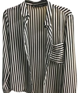Zara Sheer Zebra Button Down Shirt