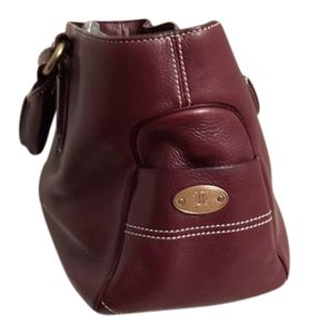 Céline Leather Tote in Brown/Burgundy