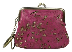 Patricia Nash Designs Leather Key Chain Gold Coin Purse Magenta Clutch