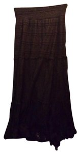 Solitaire by Ravi Khosla Lace Gothic Boho Gypsy Maxi Skirt Black