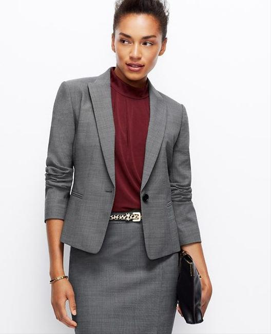 Ann Taylor One button down blazer with grey pants Image 2