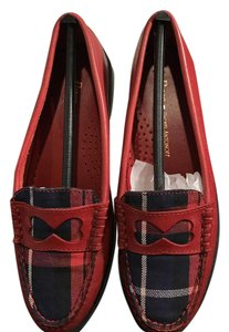 Bass Rachel Antonoff Leather Loafer Plaid Insert Red Flats