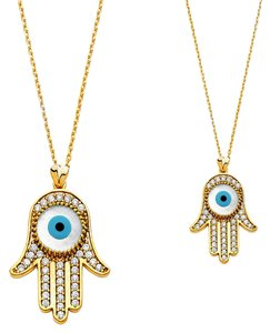 Top Gold & Diamond Jewelry 14K Yellow Gold CZ Evil Eye Necklace - 17+1