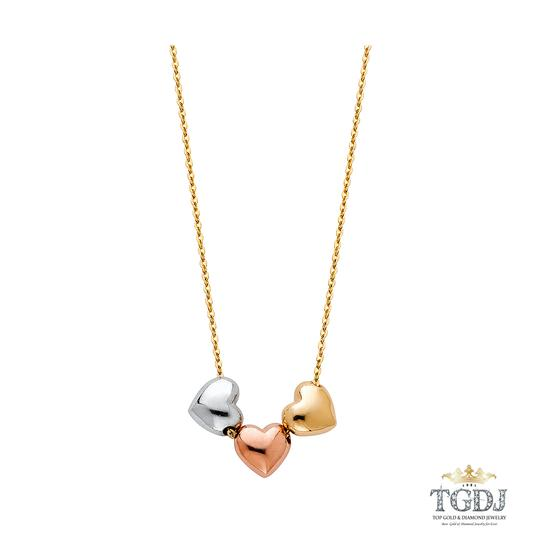 Top Gold & Diamond Jewelry 14K Tri Color 3 Heart Necklace - 17+1