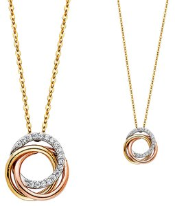 Top Gold & Diamond Jewelry 14K Tri Color CZ 3 Rings Necklace - 17+1