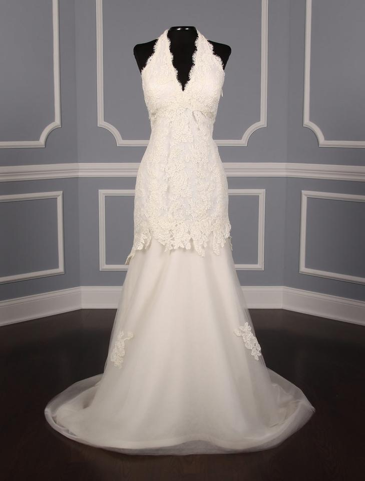 Light Ivory French Lace and Tulle Penny Formal Wedding Dress Size 8 ...