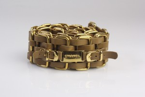 Chanel Tan Leather Woven Belt