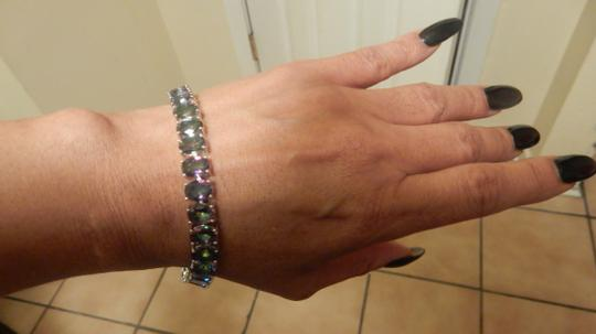 Other new RAINBOW TOPAZ BEAUTIFUL LARGE GEMS TENNIS BRACLET .7.5-8IN Image 1