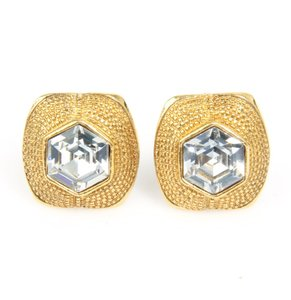 Chanel Vintage Chanel Gold & Crystal Clip On Earrings