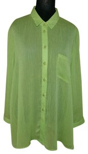 Other Made In Usa Summer Green Pocket Tee Sheer Button Down Shirt greenish yellow
