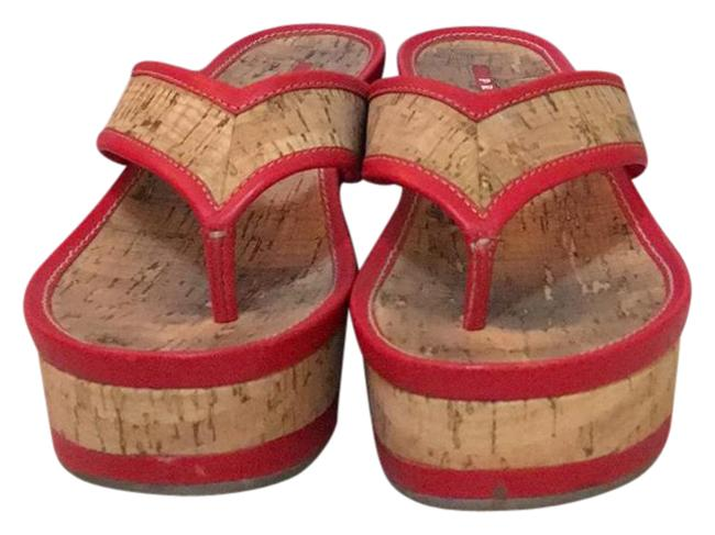 Item - Red Cork & Leather Wedges Sandals Size US 7.5