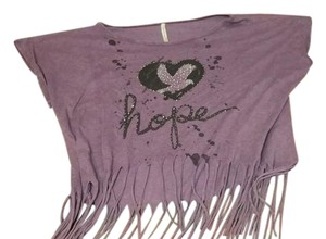 American Age Hope Heart Dove Loose Fit Fringe T Shirt Purple