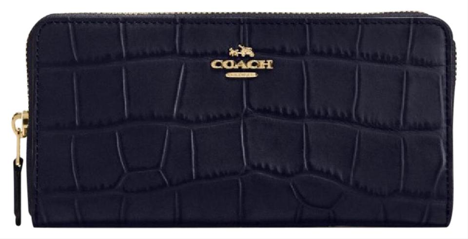 Coach COACH ACCORDION ZIP WALLET IN CROC EMBOSSED MIDNIGHT BLUE LEATHER  (COACH 54757) ...